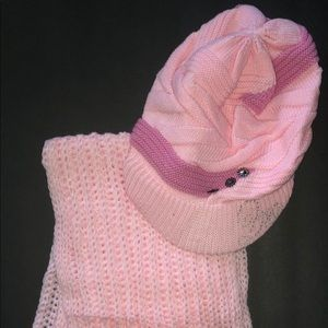 New Pink Knitted Scarve Crochet Slouchy Beanie